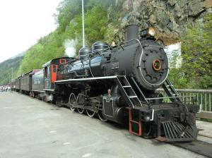White Pass steam train on Skagway dock