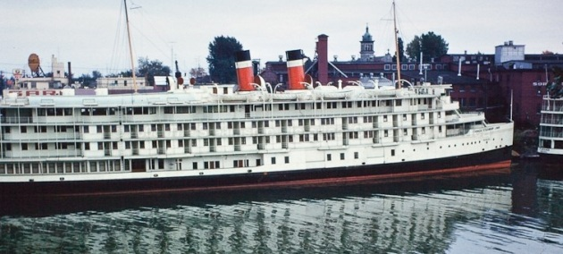 Saguenay cruise ship Richelieu at Sorel, with half of her verandah cabins visible